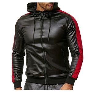 Casacos masculinos Outono inverno novo retro preto pu couro hoodie maciço jaqueta de colarinho puro de mangas compridas encaixotam windbreaker jaqueta # g2