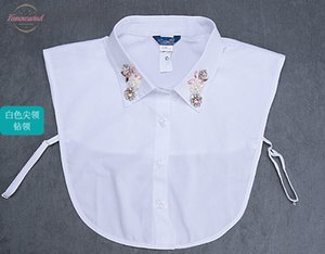 2020 Cute Style Fashion Choker Neck Lapel Beaded Ladies Blouse Collier Femme Solid Cotton Fake Collar
