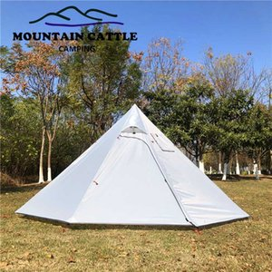 New 3-4 Person Ultralight Tent Pyramid Camping Tents Large Space With Rod Stovepipe Hole Awnings Outdoor Waterproof Sun Shelter