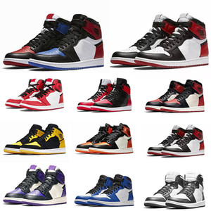 Nike air jordan 1 shoes Basketball Shoes Nouvelle adaptation de couleur haute Travis Scotts Obsidian Mens chaussures de basket-ball Spiderman UNC top 3 Bred Banned Toe Me