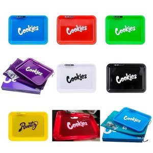 2020 In Stock Cookies Runtz California Glowtray Blue Red Green Yellow LED Rolling Glow Tray for Rolling 420 Dry Herb Flower With Box