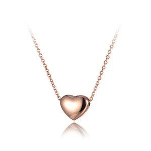 N19086 Gioielli Collana Romantic Heart Pendenti girocolli collane in argento rosa color acciaio inossidabile 316L Donne