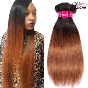 Charmingqueen faisceaux cheveux malais 1b Ombre / 30 Cheveux vierge droite cheveux non transformés empaquette humains Droit Extension non remy