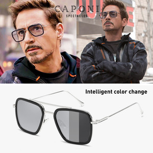 CAPONI hombres gafas de sol cuadradas Photochromic Tony Stark Iron Man Vintage gafas polarizadas tonos de moda para las mujeres UV400 BS66218 Y200415