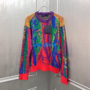 high end women oversize knit sweater all over put together color pattern with letter print blouse shirt knitwear fashion design pullover t