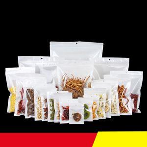 500pcs Limpar White Pearl plástico OPP embalagem Zipper fechamento Retail Resealable Long Term armazenamento de alimentos pacotes da folha Bag Bolsa de Mylar Bags