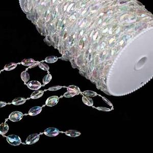 30 metros / 99feet / 10mm Rollo acrílico disco con cuentas iridiscentes del arco iris de cristal Garland Hilos de la decoración de la boda de la lámpara