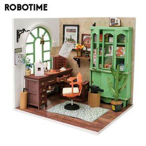 ستوديو بيت الدمية وصول Robotime جديد DIY جيمي مع مصغرة أثاث الأطفال الكبار دمية خشبية مجموعات لعبة DGM07 T200622