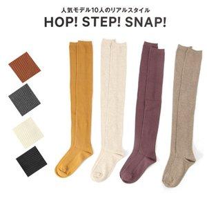 20190414 Outono e inverno novo tipo aberto penteado algodão joelho feminino pilha meias