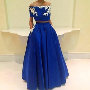 Two Pieces Royal Blue Prom Dresses Off The Shoulder Appliques Beads Sequins Cheap Cocktail Party Gowns Short Sleeve Evening Dress