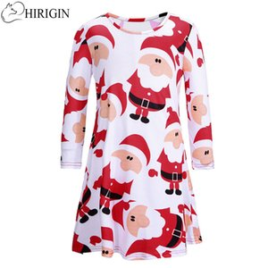 HIRIGIN child's Christmas Baby Girl Dress Party kids pageant princess dresses Санта-Клаус одежда для детей с длинными рукавами печати