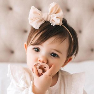 yuxic Big Bow Bebek Bantlar Yumuşak Dantel Naylon Kız Bebek Hairband Yenidoğan Prenses Başkanı Wrap Bebek Hairbows