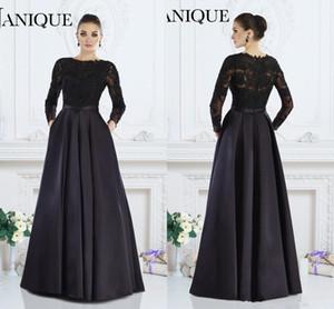 2019 Janique черные с длинными рукавами элегантные вечерние платья A-Line жемчужина кружева бисером платья матери невесты на заказ женщины вечерняя одежда