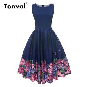Tonval Vintage Çiçekli Baskı Kadın Retro Elbise Plissee Rockabilly Elbise O Boyun Yaz Bayanlar Donanma Pamuklu Giysiler Y19070901