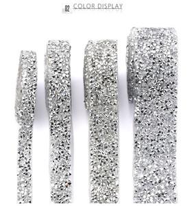 1 Yard Akrilik Rhinestone Elmas Şerit Dikiş Trim Kristal Motif Strass Sıcak Elbise Düğün için Yapay elmas Bant Aplikatör Şeridi Fix