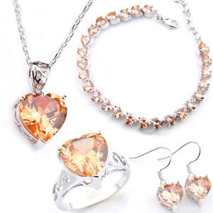 LuckyShine sposa Jewelry Set Cuore Morganite Orecchini Pendenti Anelli Bracciale argento 925 placcato cristalli di zircone di nozze