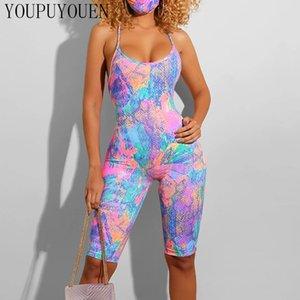 Backless Sexy Summer Romper Woman Jumpsuit Streetwear One Piece Outfit Women 2020 Bodycon Clubwear Bodysuit Shorts Playsuit
