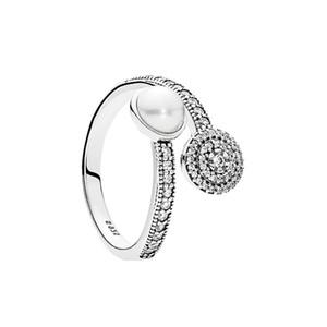 Cristal blanc perle lumineuse lueur bague originale Boîte pour Pandora 925 argent Sterling femmes mariage designer de luxe amour bagues ensemble