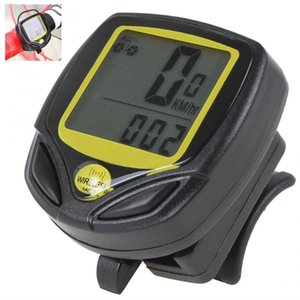 SD-548C Kablosuz Waterproopf 27 x 23mm LCD Siyah + Sarı Dijital Kilometre Bisiklet Saat Metre Bisiklet Kilometre sayacı