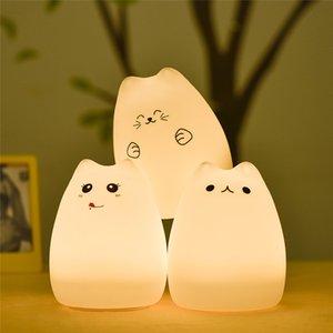 Çocuklar Hediyesi için LED USB Şarj edilebilir Sevimli Kedi Gece aydınlatması Renkli Silikon Yumuşak Nefes Karikatür Bebek Hemşirelik Lambası