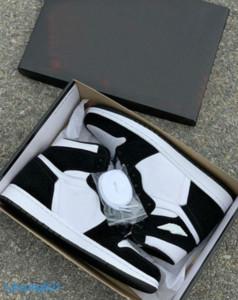 HEISSE neue Großverkauf-OG WMNS Basketball-Schuhe 1 1s Panda Farbe Mens-Schwarz-Weiß Outdoor Sports Turnschuhe