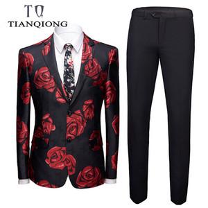 TIAN QIONG Mens Elegante Brilhante VERMELHO Rose Imprimir 2 Peças Set Mais Recente Casaco Calça Projetos Homens Ternos Weddingslim Caber Singers Vestuário
