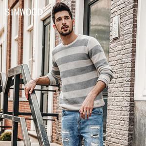 SIMWOOD 2018 sonbahar Yeni Çizgili Triko Erkekler Kontrast Renk Slim Fit% 100 Pamuk O-boyun Artı boyutu Örme Kazaklar MT017015 S917