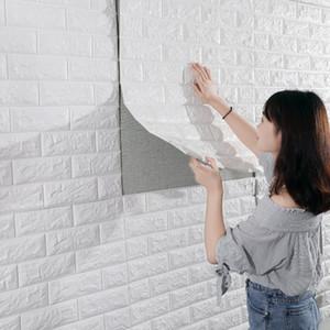3D Brick Wall Stickers impermeabile vivente Schiuma in camera da letto fai da te Carta da parati adesiva Art 70 * 77 centimetri casa della parete Stickers