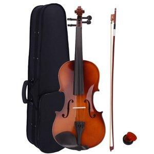 Violín 4/4 acústica de tamaño completo con la caja del arco de colofonia de madera de color