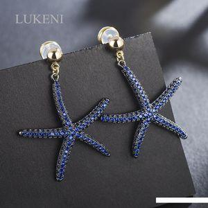 Barato Pendientes de LUKENI Nueva creativo micro-incrustaciones Azul circón cúbico simple de la personalidad estrellas de mar pendientes grandes joyas de moda Para