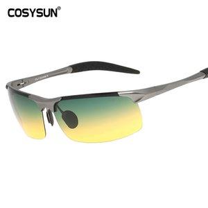 COSYSUN Tagesnachtsicht-HD Fahren polarisierten Sonnenbrillen für Männer Driving Gläser Anti-Glare-Aluminium-Legierung Gläser 817