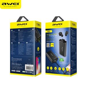 Wireless Ture Wireless AWEI T85 TWS business auricolari Bluetooth wireless 3D stereo per cuffie Microfono Bluetoot V5.0 con 1800mah power bank