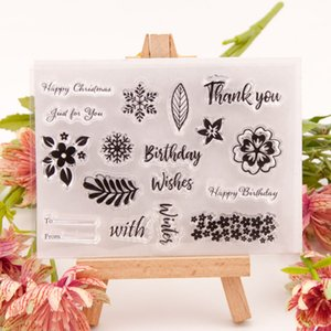Leaf Flower Transparent Silicone Clear Stamp DIY Scrapbook Embossing Paper Card Decor Art Birthday Thank You