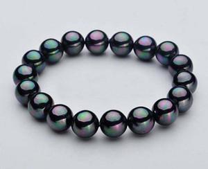 """10 millimetri naturale Nero mare del sud Shell perla rotonda borda il braccialetto di stirata 7.5"""""""