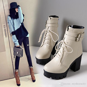 size 34 to 42 43 casual style beige lace up platform chunky heel motocycle booties black brown