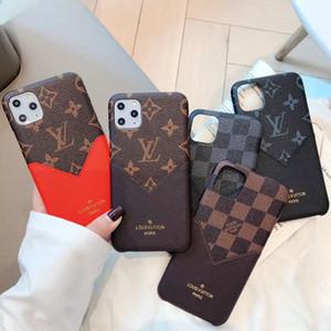 bolsillo de tarjeta de la manera V caja del teléfono móvil para el iphone 11 Pro X max max xs 11Pro 8 8plus 7 7plus xr piel de cuero volver a defender cubierta de moda A01