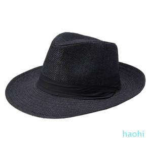 Wholesale-Women Lady Men Straw Hat Beach Summer Wide Brim Cap Breathable Panama Fashion Sunhat ZJ55