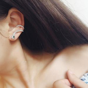 Punk Gothic Ear Cuff Серьги Женщины Стад серьги 925 серебряные иглы Micro Pave Цирконий Серьга 18K позолоченный подарка ювелирных изделий