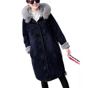 Parka Femmes Vestes D'hiver Épaisse Denim Veste Col De Fourrure Agneaux Laine De Coton Parka Manteau Chaud Femmes Denim Manteaux