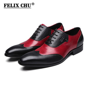 Red Dress FELIX CHU moderna Signori Oxford formali Genuine Leather Mens Wedding Party Nero Scarpe Uomo Wingtip Brogue # 185-810