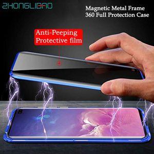 360 completa Protect Magnetic metal Case para Samsung S10 S9 S8 Além disso S10E A50 A70 Nota 8 9 10 Anti-Peeping temperado tampa de vidro Film