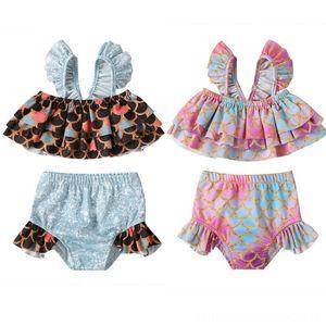 Summer Kids Girl Bikini Set Beach equipment Water Sports 2020 Summer Fish Scale TopsShorts Outfits Swimwear Beach Bathing Suit Two Piece Swi