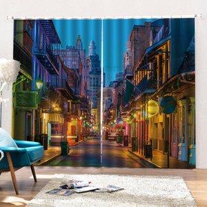 Шторы для кухни европейские многоэтажные улицы с блестящими огнями Декоративное Интерьер Красивая плотными шторами