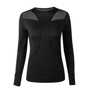 الربيع والصيف اليوغا T قميص شبكة خياطة الأسود سريعة التجفيف للياقة البدنية Shirts أعلى كم طويل تجريب البلوز ملابس للسيدة 28sya E19