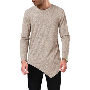Alta qualità Designer Mens maglietta irregolare Autumn Spring Fashion O-collo Tees Maniche lunghe base Tops Abbigliamento Uomo