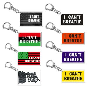 13style I can't Breathe KeyChain Letter Print Floyd Key Ring Fashion Acrylic Car Key Chain Pendant Jewelry Gifts Party Favor GGA3449-3