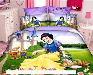 A 3d Kids Cartoon Girls Bedding Sets Oil Print Purple Duvet Cover 150 &200cm Flat Sheet Pillowcases Twin Full Queen Size