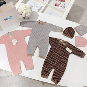 Newbron bébé barboteuses tricotées enfants Infant conception crochet de mode d'une seule pièce d'escalade + vêtements Combi-pantalons bebe chapeau