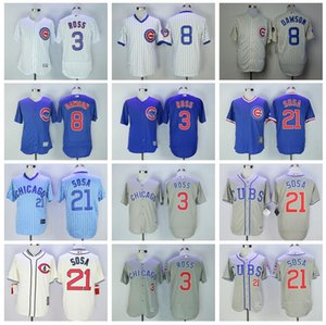 1929 1969 do vintage basebol 3 David Ross Jersey 8 Andre Dawson 21 Sammy Sosa Tudo costurado pulôver aposentar Riscas Flexbase Legal Base de Dados