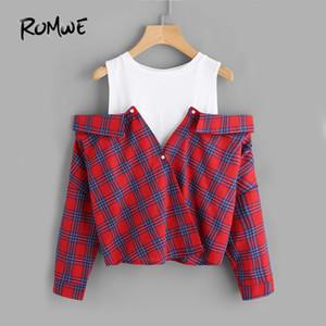 Romwe Açık Omuz Kontrol 2 In 1 Gömlek Tunik Vogue Bluz Kadınlar Kırmızı Düğme Ekose Üst Güz 2019 Uzun Kollu Yaka Bluz J190613